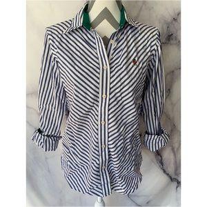 Tommy Hilfiger Tie Up Shirt Top Stripe Vintage